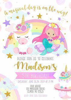 Unicorn and Mermaid Invitation, Mermaid Unicorn Birthday Party Invite, Rainbow Unicorn Invite, Pink, Glitter Birthday Parties, Unicorn Birthday Parties, Unicorn Party, Rainbow Unicorn, Farm Birthday, Unicorn Birthday Invitations, Mermaid Invitations, Birthday Banners, Rainbow Birthday