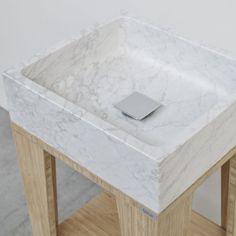 Umi S Square | Breccie - Natuursteen wastafel op bamboe onderstel - badkamer meubel