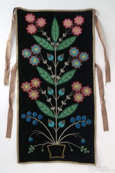 Exquisite Anishinaabe panel (made sometime between 1860-1901 in Minnesota) Panel | In honor of the people -- note the four parts -- roots, stem, leaves and flowers and the mirror image symmetry.  This is life in fullness and balance.