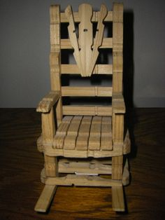 Hand Made Antique Miniature Rocking Chair Made of Clothes Pins, Play Scale Size