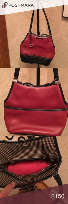Brighton red and black leather purse. Authentic and beautiful. Like new condition! Non-smoking home. Brighton Bags Shoulder Bags