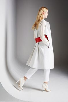Modern beauty,  Pringle of Scotland S/S 2014 RTW shows how pure white gets a bold red accent