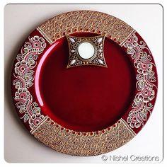 Decorative dish (new) Thali Decoration Ideas, Diwali Decorations, Indian Wedding Decorations, Decor Wedding, Rangoli Designs, Henna Designs, Mehndi Party, Mehendi, Diwali Painting