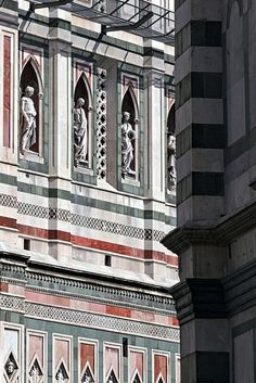 Firenze. Statues (Andrea Pisano, c.1340s) on the west side of the Campanile of the Duomo.