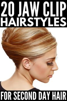Running Late: 20 Jaw Clip Hairstyles For All Hair Lengths Perfect for second day hair, this collecti Hair Tutorials For Medium Hair, Medium Hair Styles, Curly Hair Styles, Short Hair Bun, Curly Hair Updo, Clip Hairstyles, Braided Hairstyles, Updos Hairstyle, Elegant Hairstyles