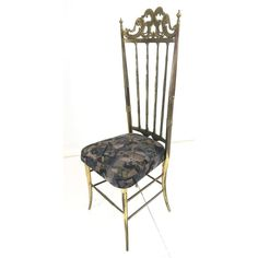 Modernist Italian CHIAVARI Brass Side Chair. Tall - Aug 07, 2019   Uniques & Antiques, Inc. in PA Teak Dining Chairs, Side Chairs, Dining Suites, Library Chair, Brass Tacks, Italian Dining, Chiavari Chairs, Armless Chair, Modern Chairs
