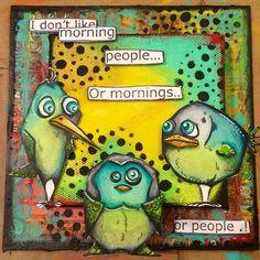 41 Ideas Colorful Bird Painting Tim Holtz For 2019 Crazy Bird, Crazy Dog, Crazy Cats, Crazy Animals, Dog Cards, Bird Cards, Bird Feeder Craft, Tim Holtz Stamps, Caran D'ache