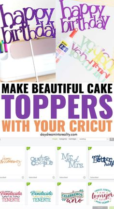 Make Cake Toppers With Cricut - Learn how to make the most gorgeous cake toppers with your Cricut (Maker or Explore) for any occasi - Cricut Cake, Cricut Vinyl, Cricut Air 2, Cricut Craft Room, Tips And Tricks, World Of Warcraft, Cricut Explore Projects, Circuit Crafts, Cricut Cuttlebug