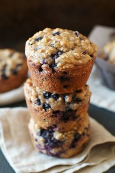 Blueberry Oat Greek Yogurt Muffins!