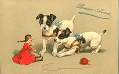 French New Year card, Rat Terrier? Jack Russell? - Vintage