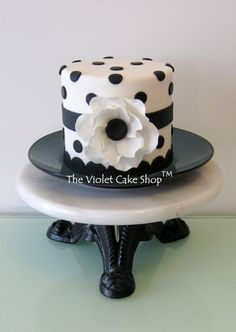 Striking! Black, White Polka Dot  Flower Mini cake