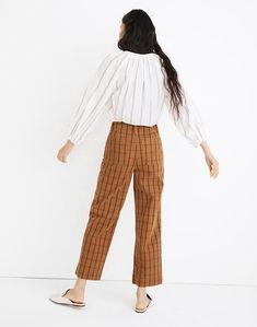 Slim Emmett Wide-Leg Crop Pants in Eberhart Plaid Cropped Pants, Wide Leg Pants, Harem Pants, Denim Shoes, How To Slim Down, Cool Patterns, Thighs, Dressing, Plaid
