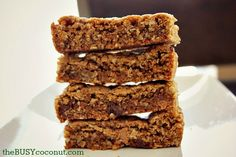 Yummy, soft, homemade granola bars. You can freeze them, great for school lunches and an after school snack. You and your kids will love them. By theBusycoconut.com