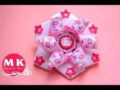 Мастер-класс Канзаши.Резинка для волос.Бант из репсовой ленты с Китти/Bow of Ribbon with Kitty - YouTube