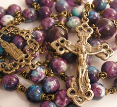Our Lady & Young Jesus Rosary - Amethyst Crystal & Purple Blue Chalcedony