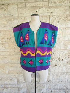 Mexican Vest Ethnic Boho Top 90s Mexican Bird by KLendoVintage
