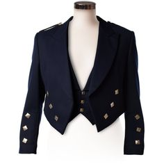 Imported Budget Navy Prince Charlie Jacket and Waistcoat ❤ liked on Polyvore featuring outerwear, vests, navy waistcoat, waistcoat vest, blue vest, blue waistcoat and navy blue vest