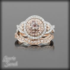 Morganite Rose Gold Engagement Ring and Wedding Band Set with Diamond Double Halo, Twisted Shank and Contoured Diamond Wedding Band - LS2243. $3,462.00, via Etsy.