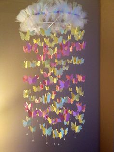 Nursery decoration mobile 3D butterflies, baby girl room mobile in yellow and pink