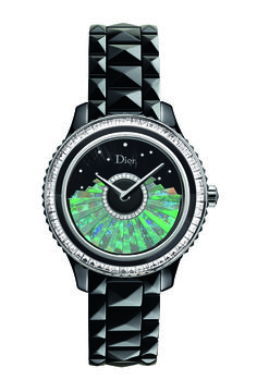 """Magnificent #watch from #Dior, made of #Opal - DIOR VIII GRAND BAL """"PLISSÉ"""" MODEL OPAL 38mm automatic - White gold, black ceramic, diamonds, opal and mother-of-pearl, Limited edition of 88 pieces"""