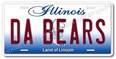 Chicago Illinois DA BEARS Football Team Aluminum Vanity License Plate Tag New