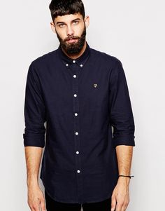 """Oxford shirt by Farah Woven cotton Secure point collar Button placket Embroidered logo to chest Curved hem Regular fit - true to size Machine wash 100% Cotton Our model wears a size Medium and is 181cm/5'11.5"""" tall"""