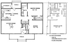 Cottage Style House Plan - 2 Beds 1 Baths 947 Sq/Ft Plan #14-154 Floor Plan - Main Floor Plan - Houseplans.com plan for future expansion