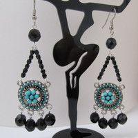 Cuentas Antique Turquoise Negro Medallion Chandellier Pendientes