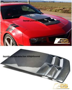 Fiberglass - Primer Black Extreme Online Store Replacement for 2010-2015 Chevrolet Camaro LT LS RS SS EOS ZL1 Style TL1 Heat Extractor Hood Insert