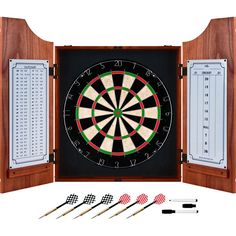 Trademark Games Beveled Wood Dart Cabinet Pro Style Board - Overstock™ Shopping - Big Discounts on Trademark Games Dartboard Cabinets