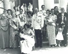 (L-R 2nd Row): Princess Alice(widow of Prince Andrew), Princess Benedikte of Denmark, Crown princess Margrethe of Denmark, Prince Michael of Greece and Marina Karella. (L-R 1st Row): Queem Ingrid of Denmark, Queen Anne-Marie with Alexia, King Constantine II, Queen Mother Frederica of Greece, King Frederik of Denmark, Princess Sophia carrying Princess Cristina, Princess Irene of Greece and Prince Juan Carlos holding Princess Elena.