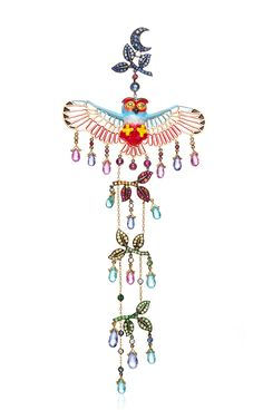 18K Yellow Gold Kites Statement Earring With Enamel, Rubies And Garnets by Lydia Courteille for Preorder on Moda Operandi