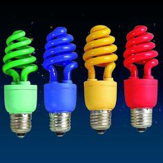 Colorful Light Bulbs...replace the lights on the patio fans with these