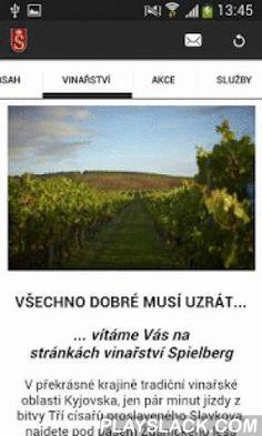 Spielberg  Android App - playslack.com , V překrásné krajině tradiční vinařské oblasti Kyjovska, jen pár minut jízdy z bitvy Tří císařů proslaveného Slavkova, najdete pod pásem Ždánického lesa půvabnou vinařskou obec Archlebov a na jejím samém začátku vinařství SPIELBERG.Aplikace je vytvořená pomocí služby ADAM - www.ADAMAPP.cz