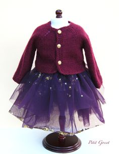 Lovely wool hand-knitted cardigan and a festive skirt, made with France Duval Stella tulle and little golden stars