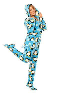 Penguins Hooded Footed Pajamas Pajamas Footie Pjs