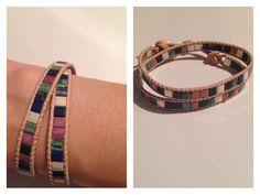 Dubbele armband met miyuki tila kralen.  Ook te verkrijgen in een andere kleur of een andere kleur leer. €15,-