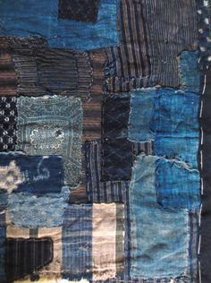 Mujo antique Japanese indigo boro textile detail www.etsy.com/shop/Mujostore