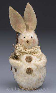 Rebekah Meier shares an easy felting technique to make this Prim, Felted Bunny. CraftsnCoffee.com.