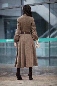 Cape coat. Fleec maxi cape coat.Winter cape in gray .Women's ...