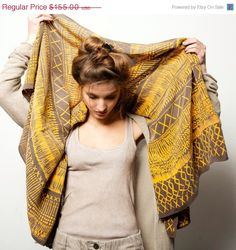 ON SALE Yellow and grey Woman scarf, Handprinted women long shawl, Summer fashion, Art to wear by Dikla Levsky via Etsy