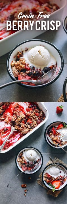 AMAZING Grain-Free Berry Crisp! 10 ing, naturally sweetened, perfect for summer! #vegan #grainfree #glutenfree #berrycrisp #dessert #minimalistbaker