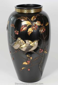 Exceptional quality Meiji period bronze and mixed metal onlaid vase by Imperial artist Suzuki Chokichi ( Kako) available at Steve Sly Japanese art Japanese Bowls, Metal Birds, Metal Vase, Antiques For Sale, Victoria And Albert Museum, Antique Photos, Red Berries, Mixed Metals, Vases Decor