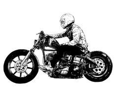 Motorcycle Tips & Ideas Motorcycle Posters, Motorcycle Art, Bike Art, Harley Tattoos, Biker Tattoos, Bobber, Tree Sleeve, Bike Drawing, Bike Illustration