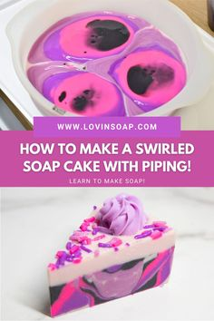 Let's make soap! In this step-by-step DIY tutorial, I will teach you how to make a swirled cold process soap cake with piping! This delightful handmade soap cake has a swirled bottom and gracefully piped frosting. I made this soap in two separate batches, one for the cake part; one for the icing. You could make it in one batch if you're brave and don't mind rushing a little! Piping Icing, Soap Cake, Cupcake Soap, Soap Making Recipes, Homemade Soap Recipes, Cold Process Soap, Home Made Soap, Frosting Recipes