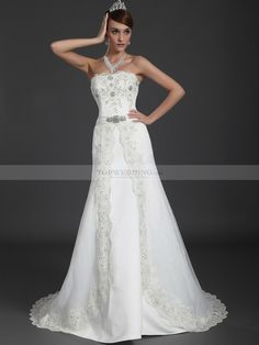 Strapless A Line Wedding Dress with Beaded Lace Trimmed Overlay