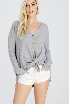 Eve Button Down Thermal - Heather Gray 64e95840a