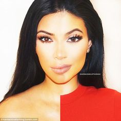 Unbelievable image: In this lighted photo, Kim, 34, and Kylie, 17, look like one person. The two sisters share the same noses, eyes and arched eyebrows