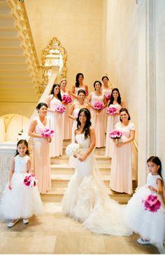 Monique Lhuillier Bridesmaid Bridal Party in blush