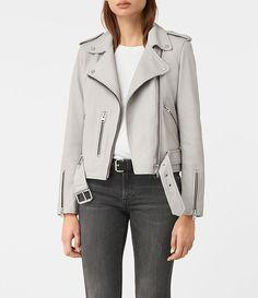 Women's Balfern Leather Biker Jacket (Light Grey) - £298